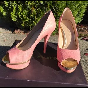Enzo Angiolini Pink scale platform stiletto heels